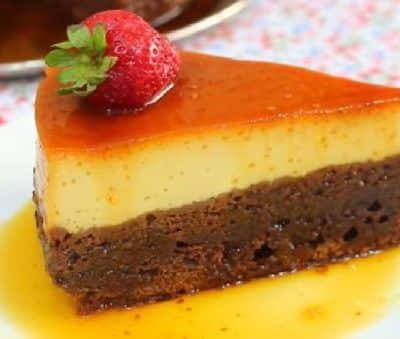 tarta de flan, chocolate y fresa thermomix