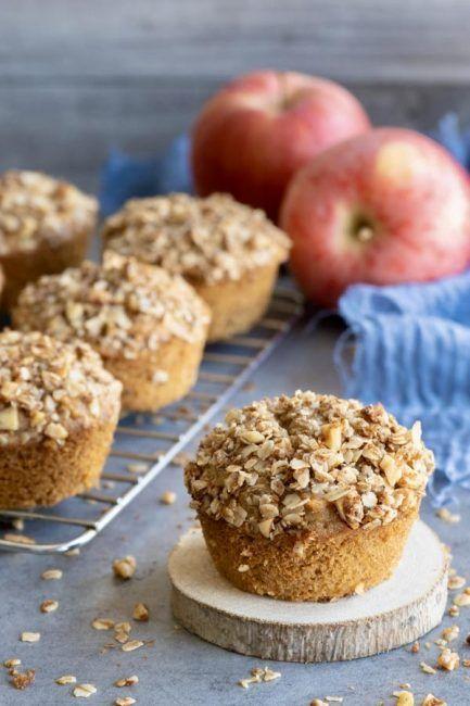 Muffins Integrales de Manzana, Avena y Nueces